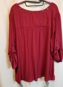 torrid Tops - Torrid wine colored grommet peasant blouse